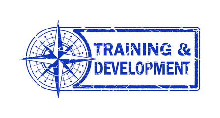 training and development stamp on white background