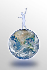 Man balancing on the world - concept image with image from NASA