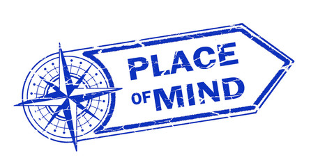 place of mind stamp on white background