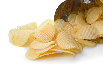 heap of potato crisps on white background
