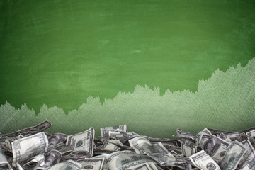Pile of dollar bills on blackboard background