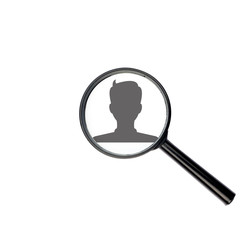 User profile avatar with magnify glass isolated on white backgro
