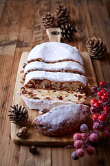 Sliced Christmas stollen