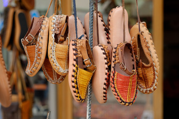 Turkish leather slipper, shoot in Istanbul