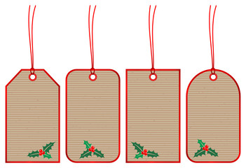Set 5 Christmas Hangtags Holly Brown Paper Red
