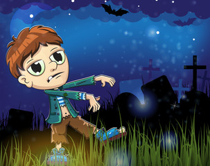 Zombie  boy on a  cemetery