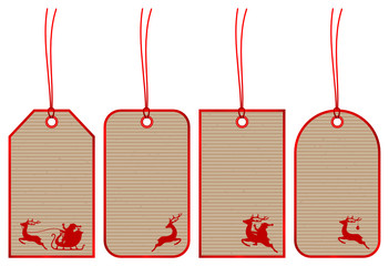 5 Christmas Hangtags Santa Brown Paper Red