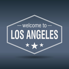 welcome to Los Angeles hexagonal white vintage label