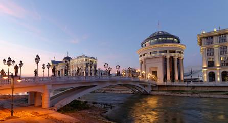 Skopje night scene at dawn -museum of Archeology and bridge