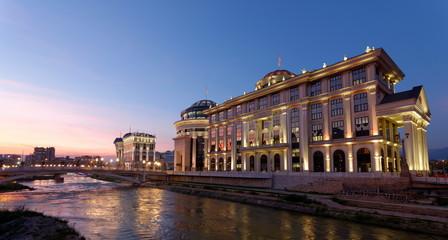 Downtown of the Skopje, Macedonia. Winter. Sunset