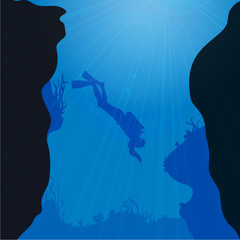 Vector silhouette of divers.