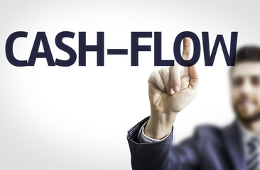 Business man pointing the text: Cash-Flow