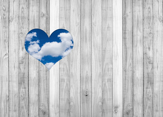 White wood plank wall texture background with sky inside heart s