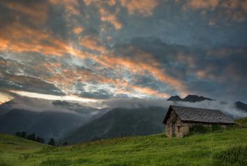 Beautiful sunrise in mountain landscape