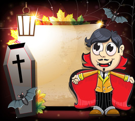 Halloween Vampire with coffin and bats