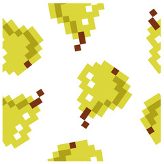 8 bit pixel seamless fruit pattern