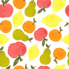 watercolor fruits seamless pattern