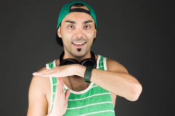 model isolated on plain background hand gesture break sign
