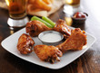 buffalo barbecue hot chicken wings platter