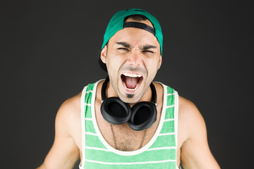 model isolated on plain background furious screaming