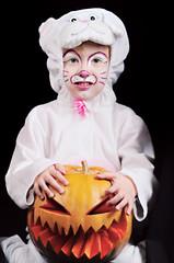 Rabbit Fancy Dressed Child with Pumpkin