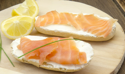 Appetizer of smoked salmon