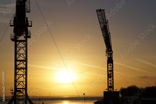 canvas print picture Crane and sunset