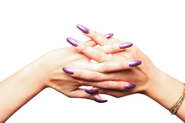 Woman hands wearing purple varnish 4