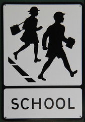 A Vintage Road Sign Warning of a School Ahead.