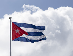 Cuban flag flying on the wind in Havana, Cuba