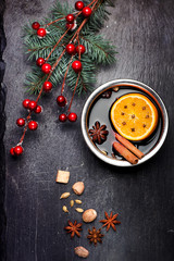 Christmas mulled wine and spices. Chalk board background .