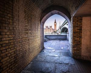 Big Ben, Queen Elizabeth Tower and Wesminster Bridge framed in A