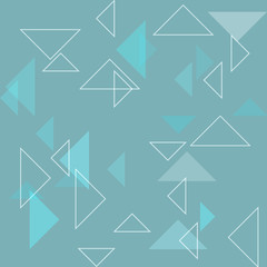 blue background with white triangles - vector illustration