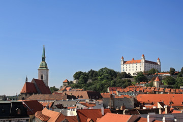 Bratislava view with the Castle and St. Martin Cathedral