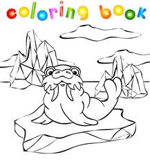 Walrus on the iceberg coloring book