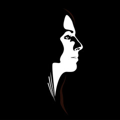 Low key vector profile of young woman