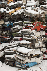 Dump cars in Russia in the winter