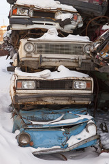 Dump cars in Russia in the winter