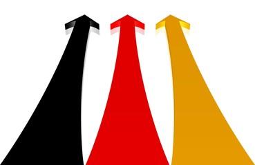 nach oben zeigende Pfeile in den Farben der deutschen Flagge