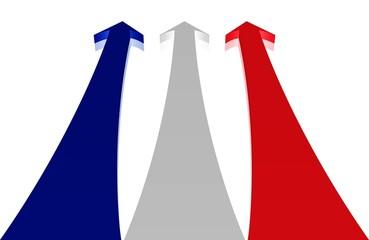 Hoffnung, Kraft - Pfeile in den Farben der französischen Flagge