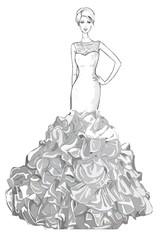 Sketch of the wedding dress.