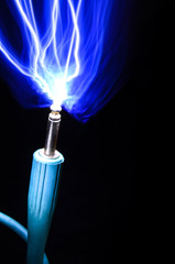 Sparks from a guitar plug