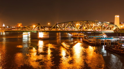 Time lapse shot of Buddha Bridge at night, bangkok thailand