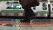 Business men board subway car in slow motion