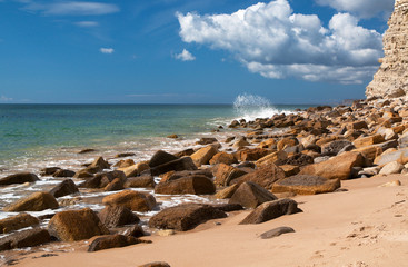 Rock stones on a beach at the Algarve in Portugal