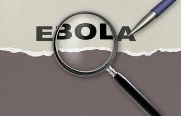 writing word EBOLA on  background made in 2d software