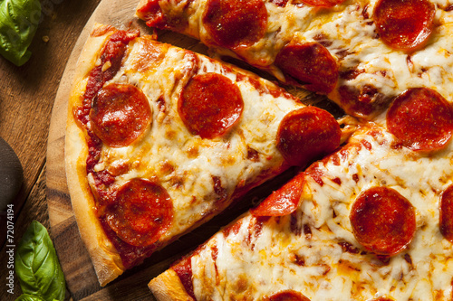 Hot Homemade Pepperoni Pizza - 72074194