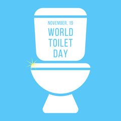 concept of world toilet day with inscription on tank