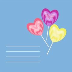 Three sweet candy hearts text