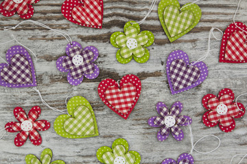 Colorful handmade hearts and flowers